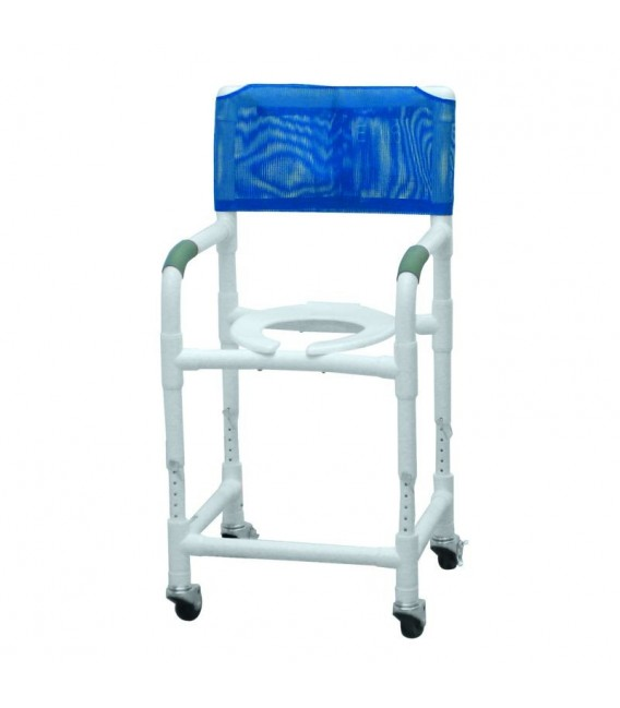Lumex 18in PVC Shower Commode Chair with Adjustable Height