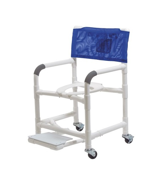 Lumex 22in PVC Shower Commode Chair with Sliding Footrest