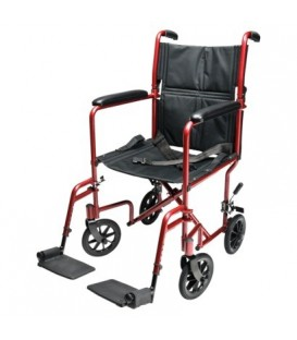 "EJ781-1  Lightweight Aluminum Transport Chair, 17"", Red"