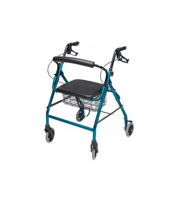 Walkabout Wide Four-Wheel Rollator - Aqua