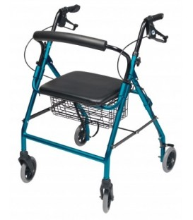 Walkabout Wide Four-Wheel Rollator - Aqua