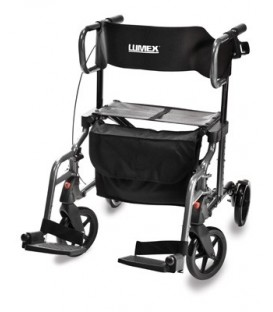 Lumex Hybrid LX Rollator Transport Chair - Titanium