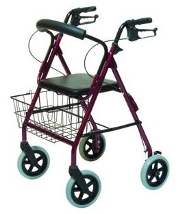 Lumex Walkabout Four-Wheel Contour Deluxe Rollator - Burgundy