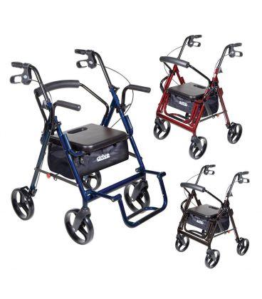 Drive Duet 4 Wheel Duet Rollator Transport Chair