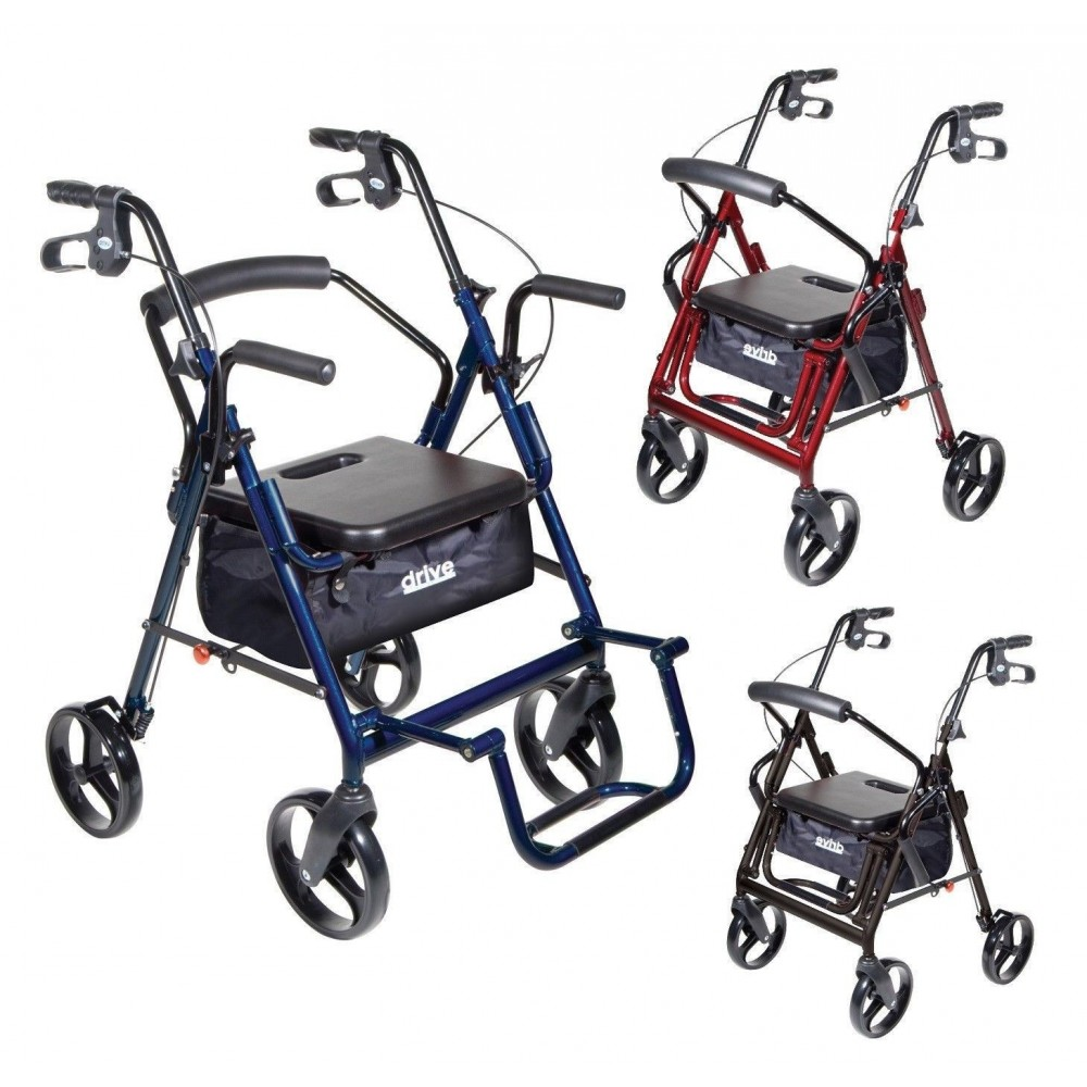 Drive Duet 4 Wheel Duet Rollator Transport Chair