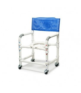 Lumex 26in PVC Bariatric Shower Commode Chair with Sliding Footrest