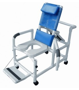 Lumex 20in PVC Reclining Shower Commode Chair with Drop Down Arms and Safety Belt
