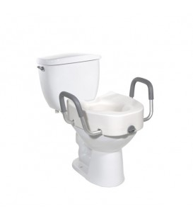 Premium Plastic, Raised, Elongated Toilet Seat with Lock - Drive