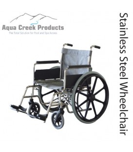 "Aqua Creek Folding Pool Access Chair 24"" Stainless Steel- 350 lb. Wt. Cap."