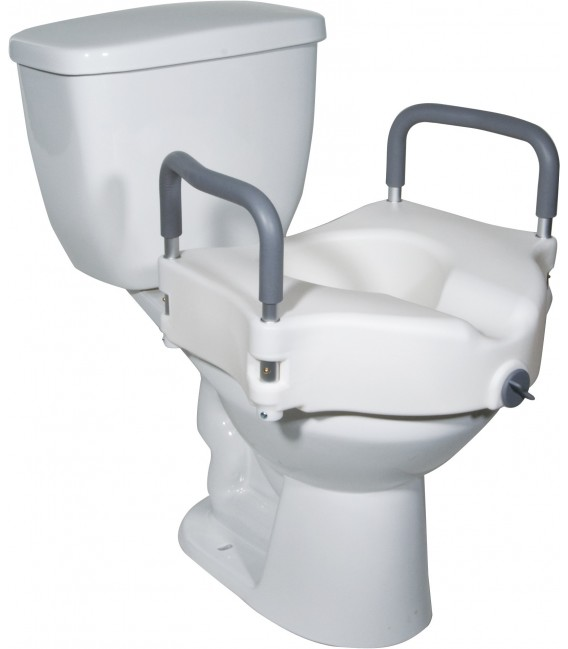 2-in-1 Locking Raised Toilet Seat with Tool-free Removable Arms by Drive