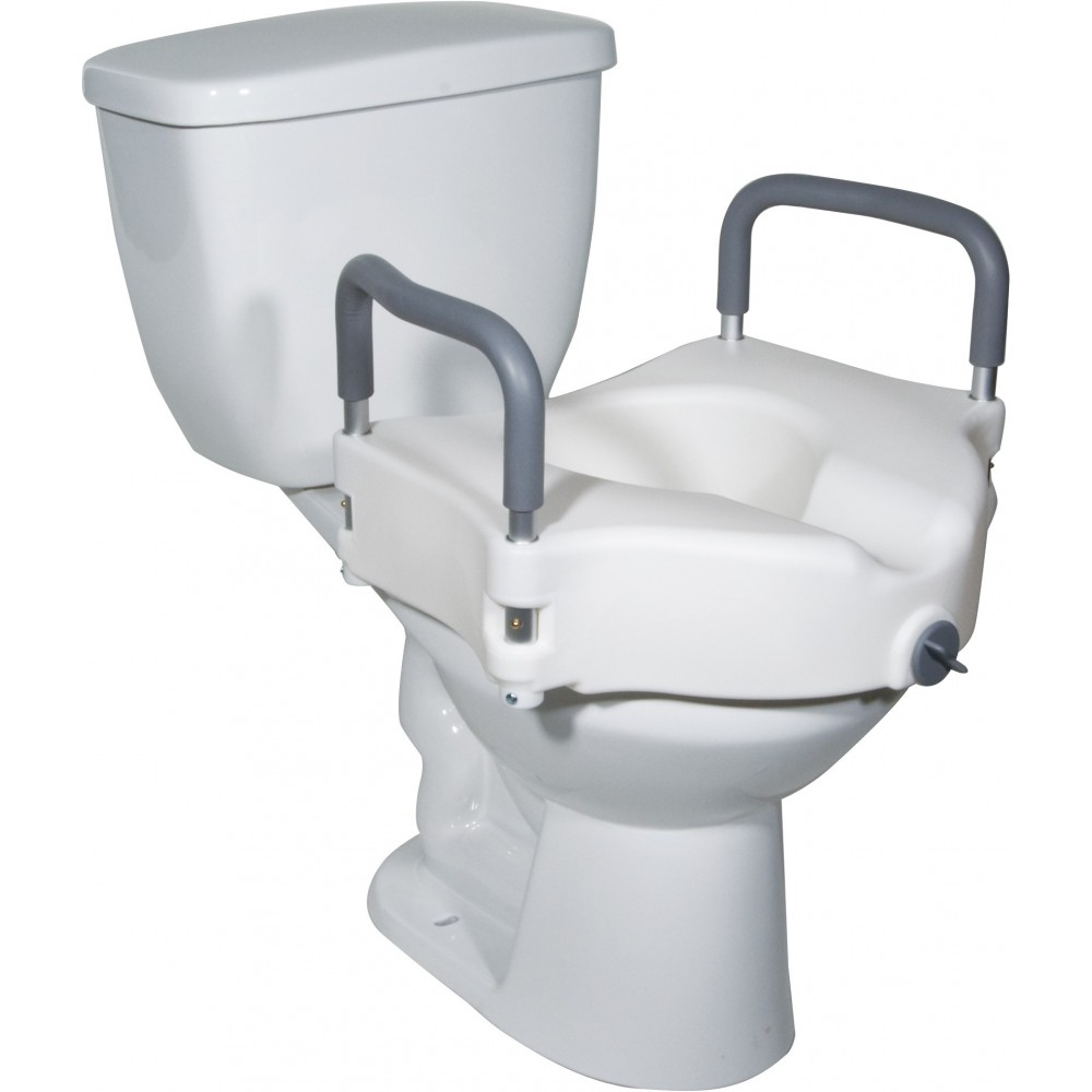 Drive Raised Toilet Seat With Arms.2 In 1 Locking Raised Toilet Seat With Tool Free Removable Arms