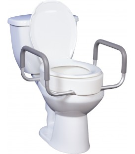 Premium Raised Elongated Toilet Seat with Removable Arms - Drive
