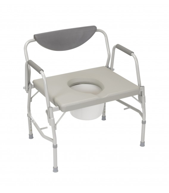 Deluxe Bariatric Drop Arm Bedside Commode Chair-1000lb Wt