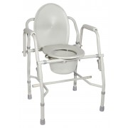 Drive Steel Drop Arm Bedside Commode with Padded Arms 300 lbs capacity