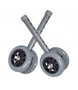 "Heavy Duty Bariatric 5"" Walker Wheels with Two Sets of Rear Glides"