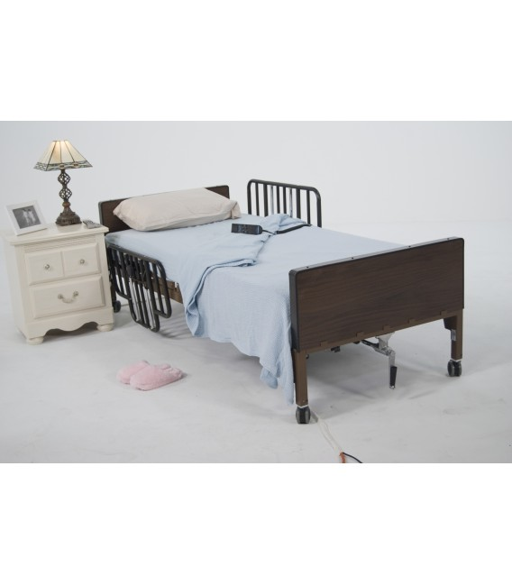 No-Gap Half Length Side Bed Rails with Brown Vein Finish by Drive