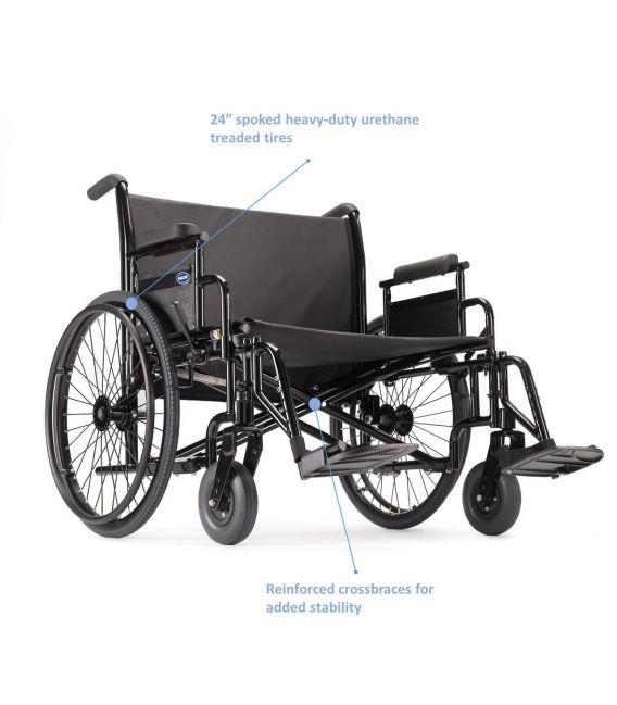 Invacare 9000 Topaz Heavy Duty Bariatric Wheelchair 700 lb Capacity