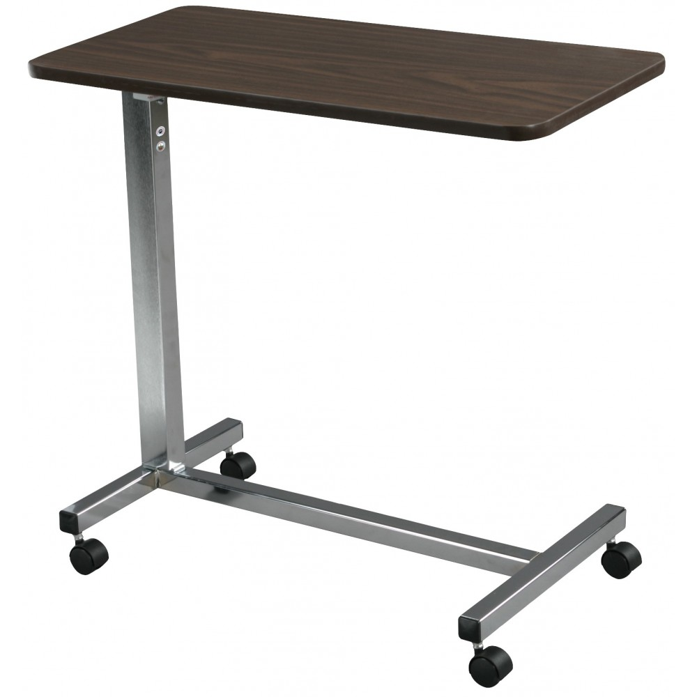 Non Tilt Top Overbed Table W Walnut Chrome Base Mast Drive