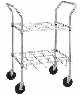 "Chrome Oxygen Cylinder Cart -Holds 12 (22.6"" x 15.4"" x 39.8"")"