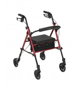 """4 Wheel Adjustable Height Rollator with 6"""" Wheels in Red - Drive"""