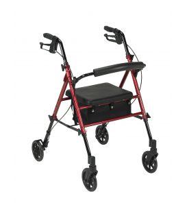 "Drive 4 Wheel Adjustable Height Rollator with 6"" Wheels"