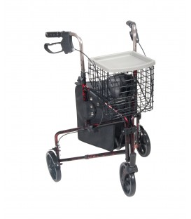 3-Wheel Rollator w/Basket Tray & Pouch in Flame Red by Drive