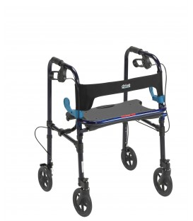"Drive Clever Lite 4 Wheel Adult Rollator w/8"" Casters in Flame Blue"