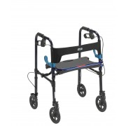"""Drive Clever Lite 4 Wheel Adult Rollator w/8"""" Casters in Flame Blue"""