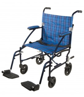 "Drive Fly Lite Ultra Lightweight 19"" Aluminum Transport Wheelchair - Choose Color"