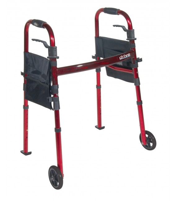 """Deluxe Folding Travel Walker with 5"""" Wheels and Fold up Legs"""