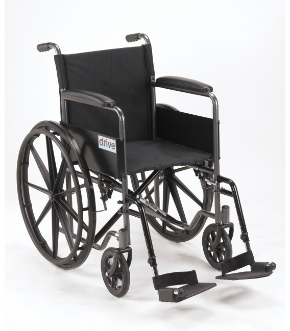 "Drive Silver Sport 1 18"" Wheelchair with Full Arms & Swingaway Removeable Footrests"