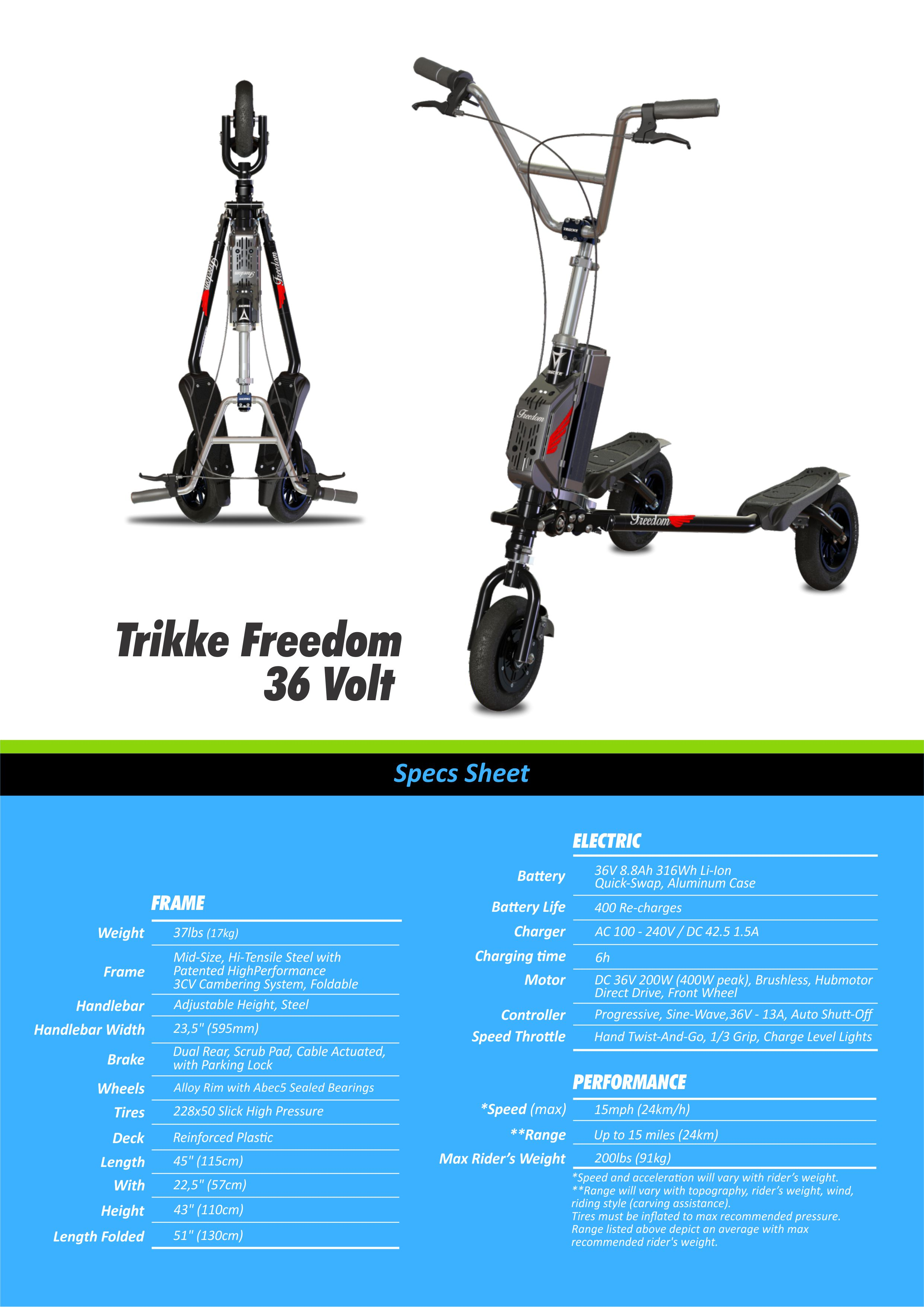 Trikke Freedom 3 Wheel Electric Scooter T6hf