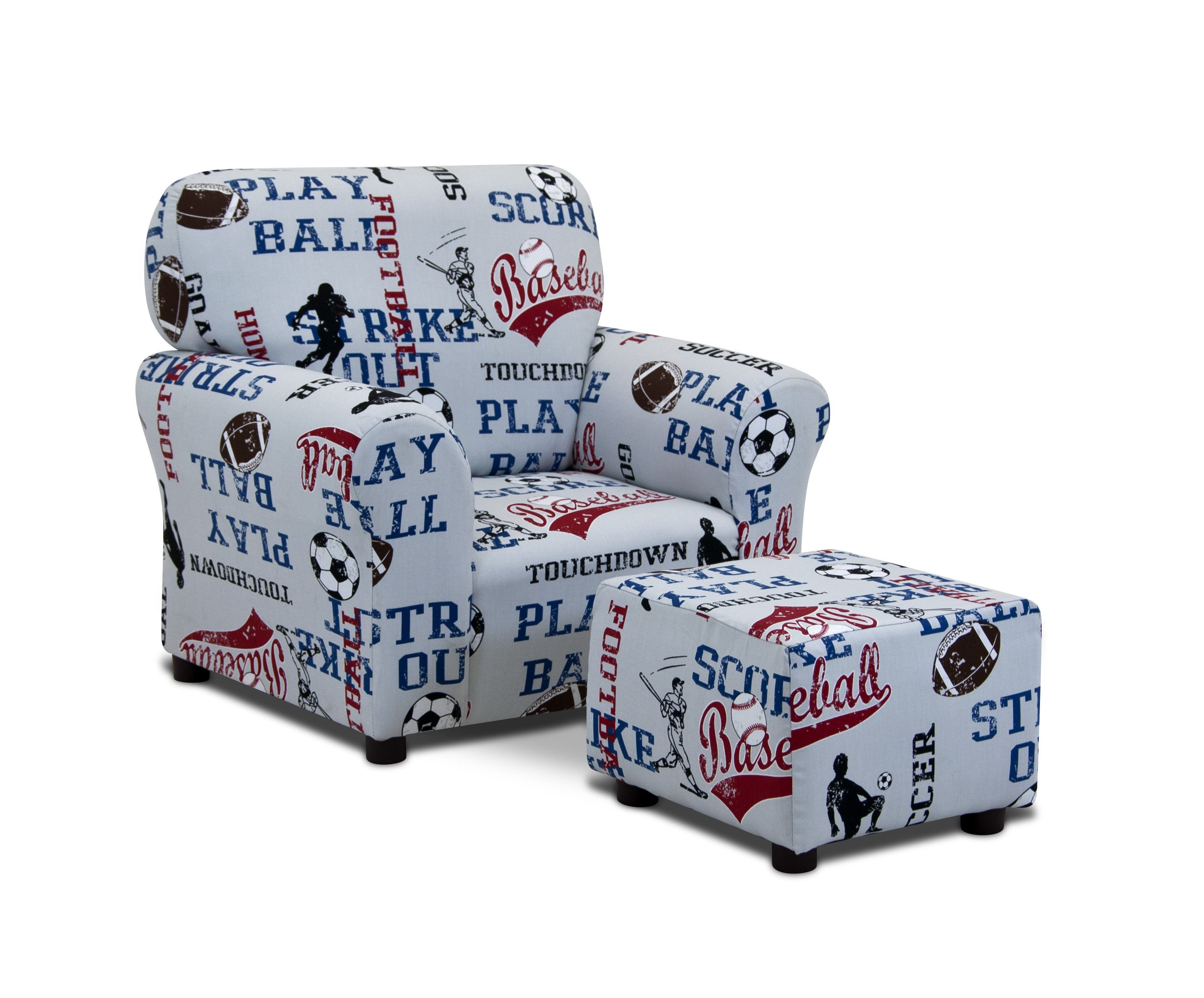 All Sports - American Blue Club Chair and Ottoman Set